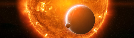 Exploding sun in space close to planet Earth 3D rendering