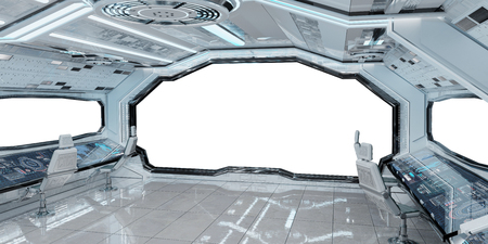 White clean spaceship interior with white background 3D rendering Imagens - 102048745