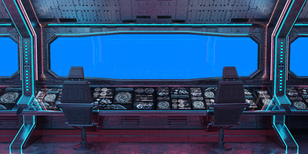 Nave espacial interior de grunge con fondo azul representación 3d Foto de archivo - 102048681