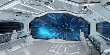 White clean spaceship interior jumping to light speed 3D rendering