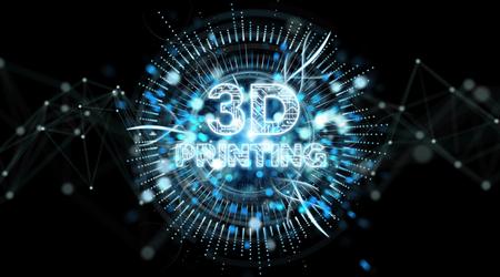 3D printing digital text hologram on black background 3D rendering