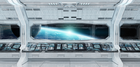 White clean spaceship interior with view on planet Earth 3D rendering Archivio Fotografico - 102047960