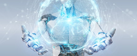 White robot on blurred background using digital sphere connection hologram 3D rendering Stock Photo