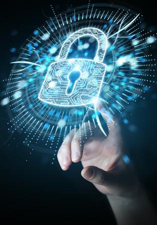 Geschäftsfrau auf unscharfen Hintergrund schützen seine Daten mit digitalen Security Screen 3D-Rendering Standard-Bild