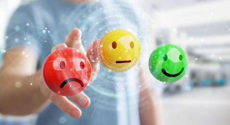 Businessman on blurred background using customer satisfaction rating 3D rendering