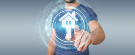 Businessman on blurred background using real estate digital interface 3D rendering