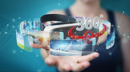 empresaria en el fondo borroso usando gafas de realidad virtual 3d