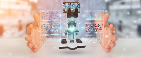 Businessman on blurred background using modern microscope with digital analysis 3D rendering