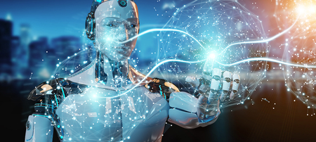 White male humanoid on blurred background using digital global network 3D rendering Stock Photo
