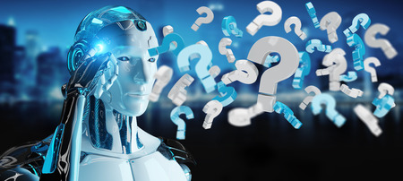 White robot on blurred background using digital question marks 3D rendering