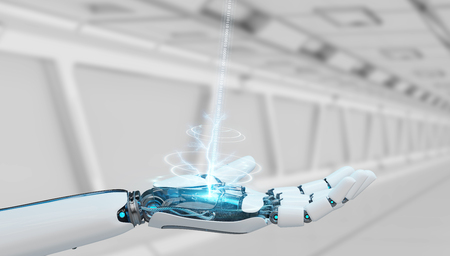 White cyborg opening his hand on spaceship background 3D rendering