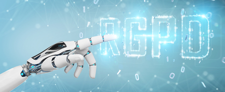 White cyborg hand on blurred background using digital GDPR interface 3D rendering