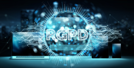 Digital GDPR interface over tech devices and computers 3D rendering