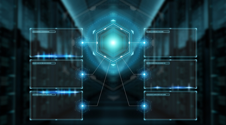 Digital screens interface with holograms datas on blue background 3D rendering Stock Photo