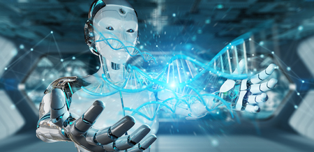 White woman cyborg on blurred background scanning human DNA 3D rendering