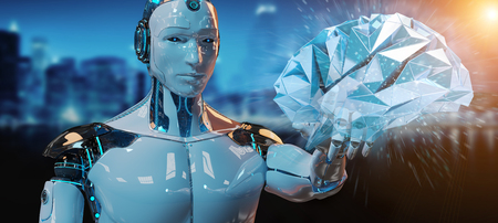 White man humanoid on blurred background creating artificial intelligence 3D rendering