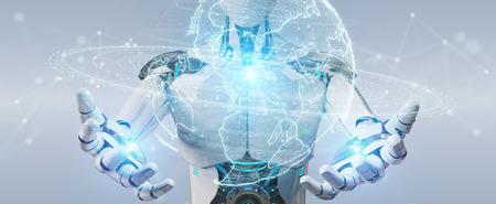 White robot on blurred background using globe network hologram with America Usa map 3D rendering