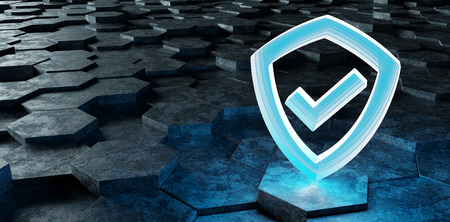 Black blue abstract shield icon on hexagons background 3D rendering Фото со стока
