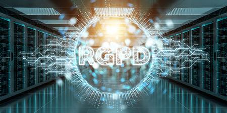Digital GDPR interface in server room data center storage 3D rendering