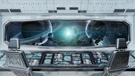Intérieur de vaisseau spatial propre blanc avec vue sur le rendu 3D du système de planètes lointaines