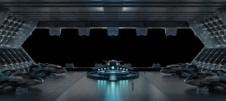 Huge blueish landing strip spaceship interior isolated on black background 3D rendering Фото со стока