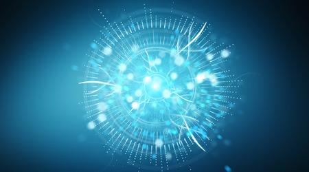Digital eye surveillance hologram on blue background 3D rendering