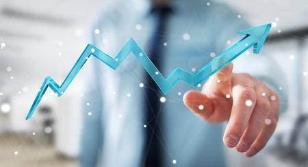 Businessman on blurred background using digital modern arrow 3D rendering