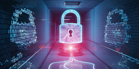 Blue and pink underground cyber security hologram with digital padlock 3D rendering