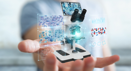 Businessman on blurred background using modern microscope with digital analysis 3D rendering Stock Photo