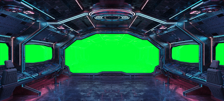 Grunge Spaceship interior with green background 3D rendering