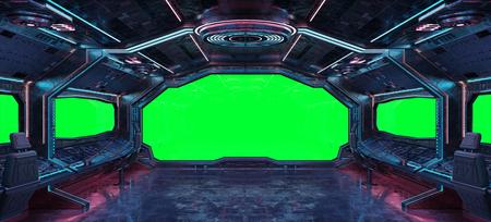 Interni di astronave grunge con sfondo verde rendering 3D