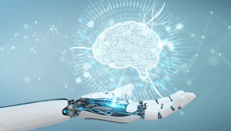 White humanoid hand on blurred background using digital artificial intelligence icon hologram 3D rendering Standard-Bild