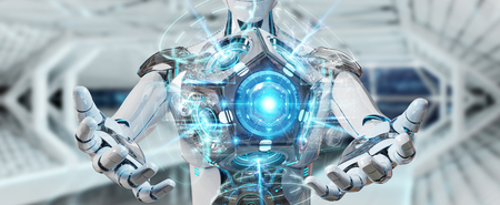 White man humanoid on blurred background using drone security camera 3D rendering