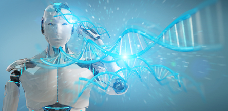 White male cyborg on blurred background scanning human DNA 3D rendering