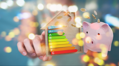 Businesswoman on blurred background saving money with good energy chart rating 3D rendering