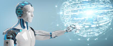 Robot mâle blanc sur fond flou à l'aide du rendu 3D de l'interface de globe numérique