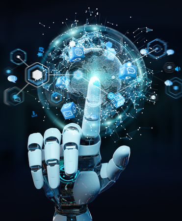White robot hand on blurred background using digital screen interface 3D rendering Foto de archivo