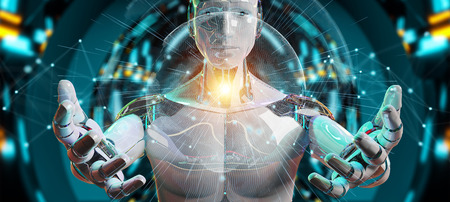 White man cyborg on blurred background using planet Earth interface 3D rendering