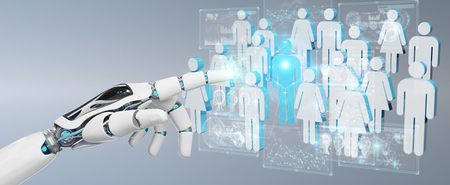 White cyborg hand on blurred background controlling group of people 3D rendering 版權商用圖片
