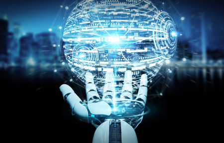 White robot hand on blurred background using digital globe hud interface 3D rendering Stock Photo