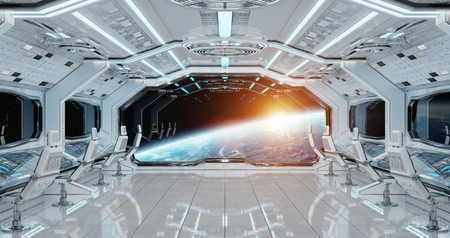 White clean spaceship interior with view on planet Earth 3D rendering Archivio Fotografico - 103760567