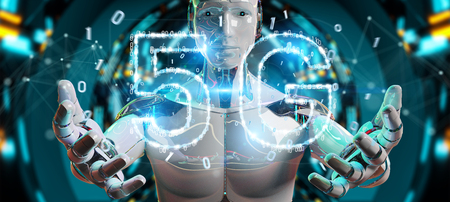 White cyborg on blurred background using 5G network digital hologram 3D rendering