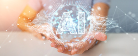 Businessman on blurred background using digital artificial intelligence icon hologram 3D rendering Foto de archivo