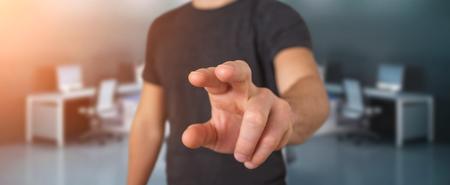 Businessman pointing finger on blurred background