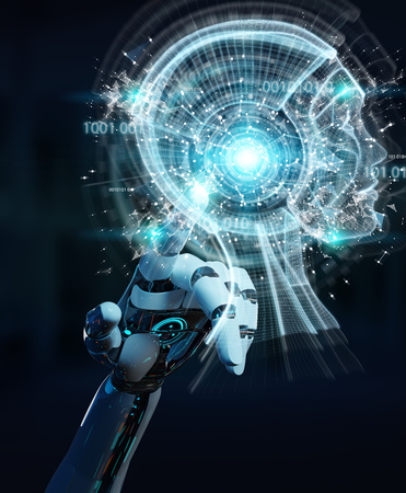 White cyborg hand on blurred background creating artificial intelligence 3D rendering Stock Photo