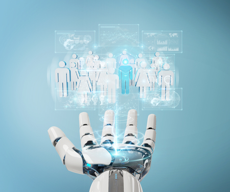 White cyborg hand on blurred background controlling group of people 3D rendering Stock Photo