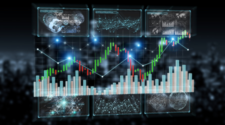 3D rendering stock exchange datas and charts illustration on dark background