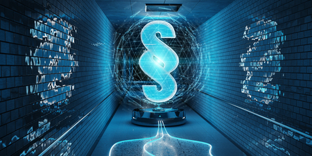 Blue law paragraph digital hologram in underground 3D rendering Stock Photo