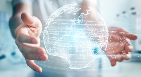Businessman on blurred background using globe network hologram with Europe map 3D rendering