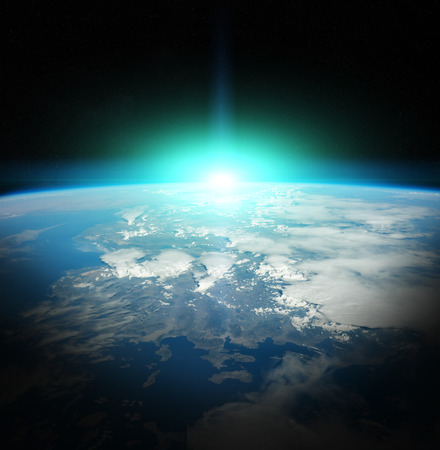Sunrise on Earth from space 3D rendering elements
